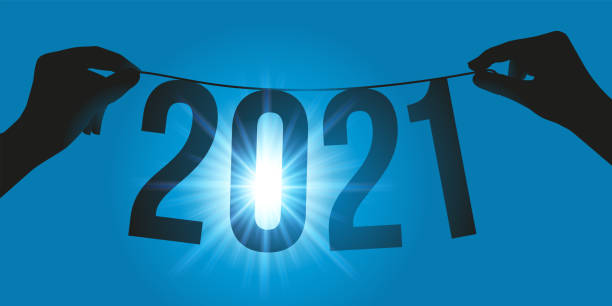 Greeting card presenting the year 2021 suspended in front of the sun, on a garland held by two hands. vector art illustration