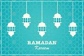 Greeting Card Ramadan Kareem design with lantern on a turquoise background