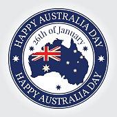 Greeting card, rubber stamp Happy Australia Day. National Celebr