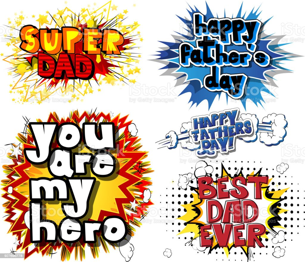 Greeting card set for Father's day. vector art illustration