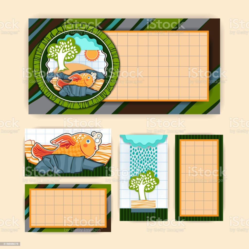 Greeting card set vector art illustration