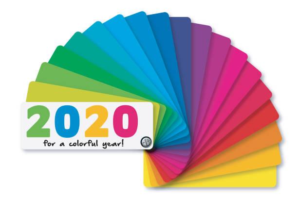 stockillustraties, clipart, cartoons en iconen met 2020 wenskaart met een kleurenschema en het kleurenpalet. - kleurenwaaier