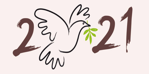 2021 greeting card symbolizing peace, with the drawing of a dove bearing an olive branch. vector art illustration