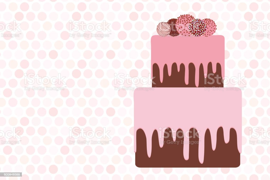 greeting card template, Birthday, valentine's day, wedding, engagement. Sweet cake, strawberry pink cream chocolate icing sprinkles, cake pops, pastel colors on white pink polka dot background. Vector vector art illustration