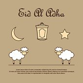 Greeting card template for Muslim Community Festival of sacrifice Eid-Ul-Adha with sheeps, latern, moon and star. Vector Illustration