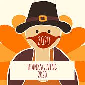Greeting card template Thanksgiving 2020. Fully editable vector illustration. Turkey wearing a face mask. Stay home, social distancing design. Flyer, poster, greeting card, social media post.