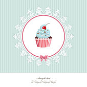 Greeting card template with cupcake. For birthday, scrapbook or bakery design. Vector.