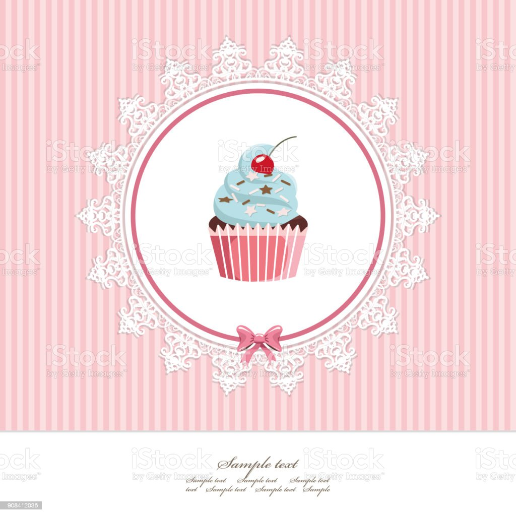 greeting card template with cupcake for birthday scrapbook or bakery design royalty