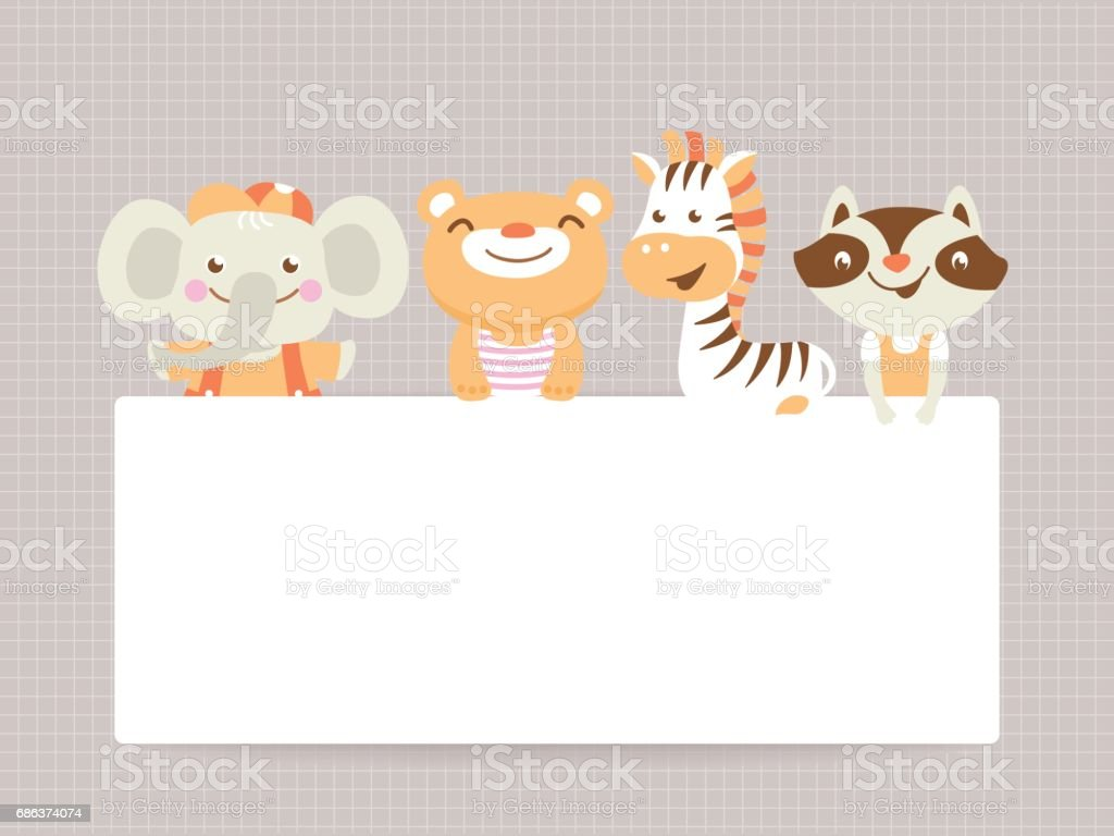 Greeting Card Template With Funny Animals And Text Space Stock