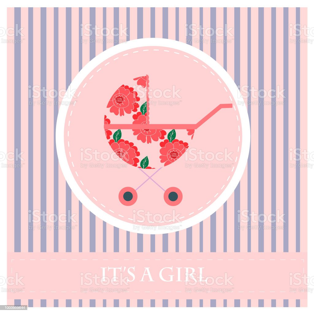 Greeting Card To Newborn Babygirl Vector Illustration Stock Vector
