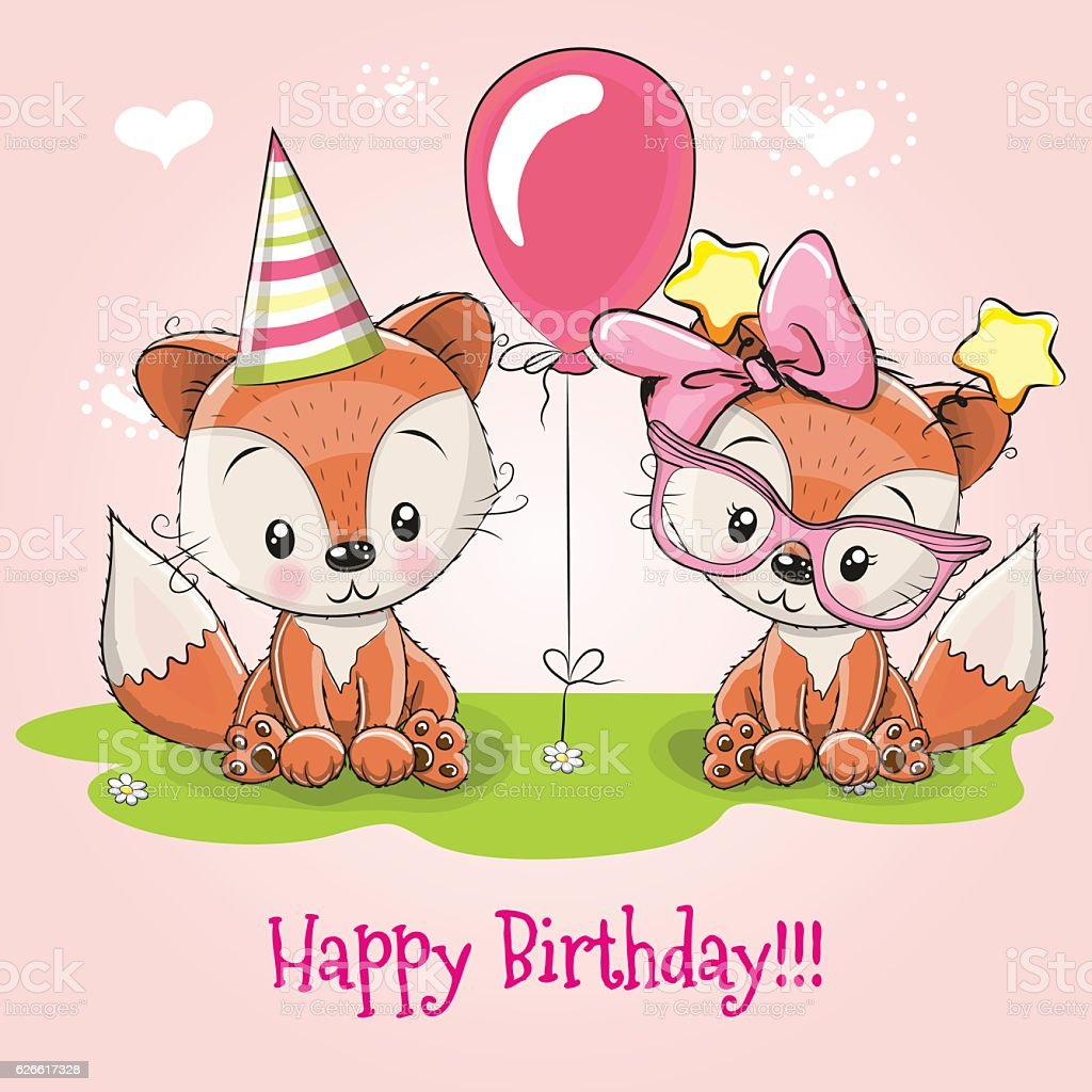 Greeting Card Two Cute Cartoon Foxes Stock Vector Art More Images