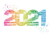 Greeting card for 2021 new year - Text means Happy New Year in various languages.