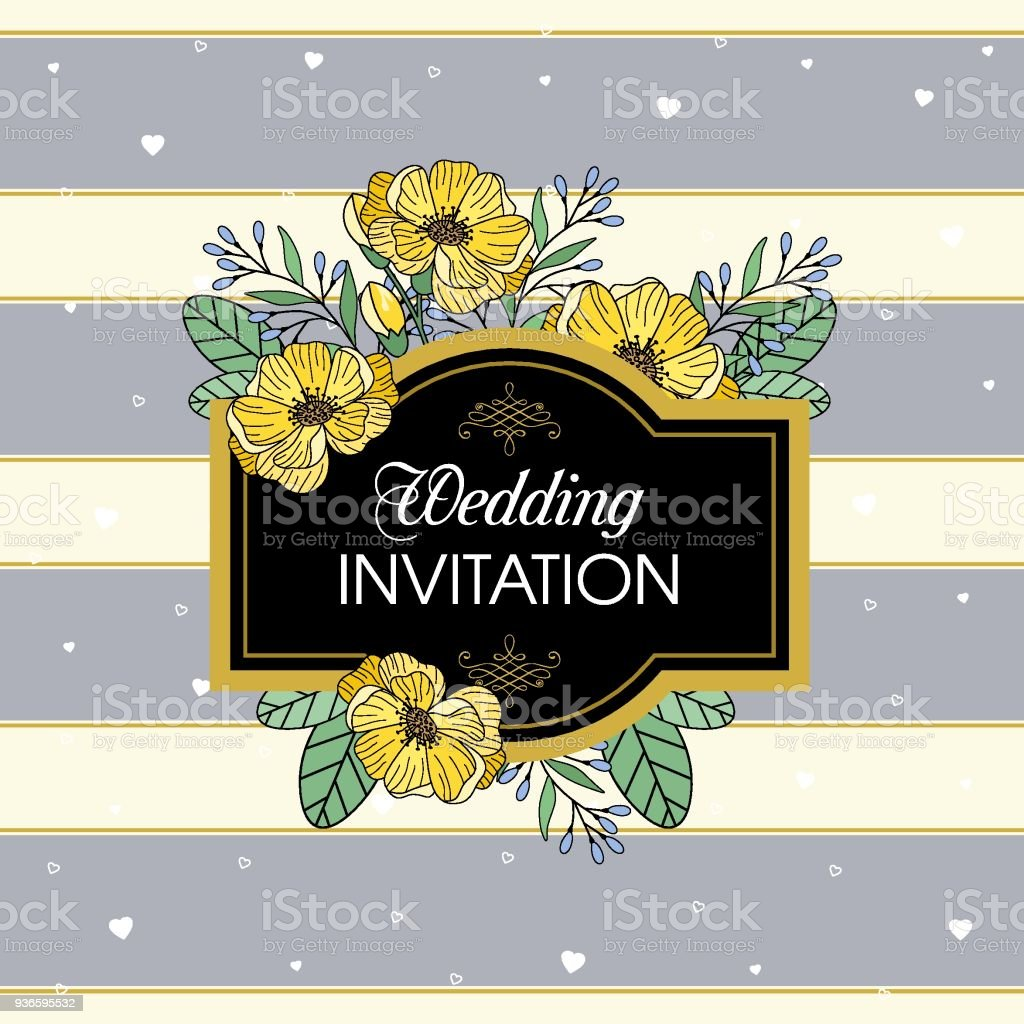Greeting Card Vector Wedding Invitation Design With Flowers