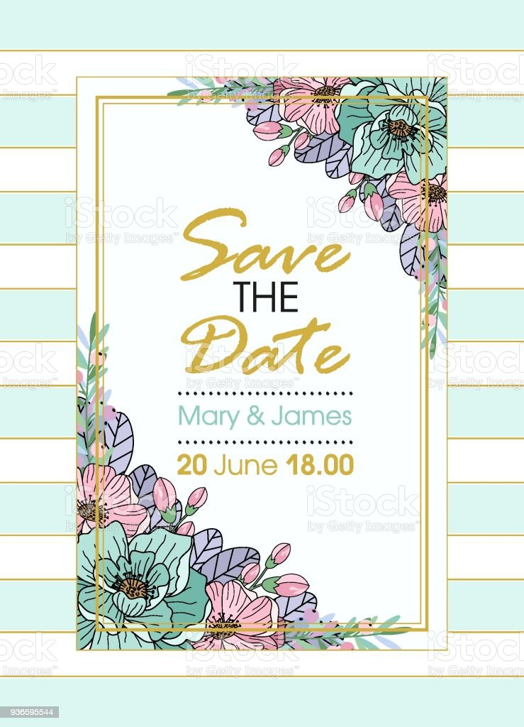 9b2a5cd06f88 Greeting Card Vector Wedding Invitation Design With Flowers Buds And