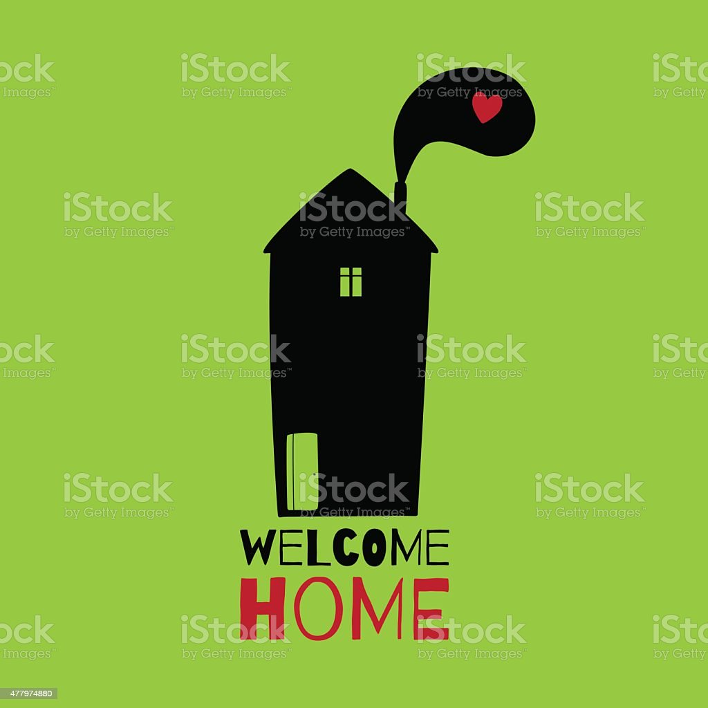 Greeting card. Welcome home. vector art illustration