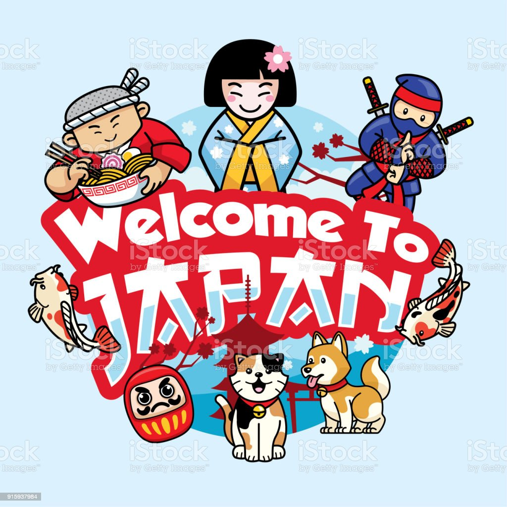 Greeting Card Welcome To Japan Stock Vector Art More Images Of