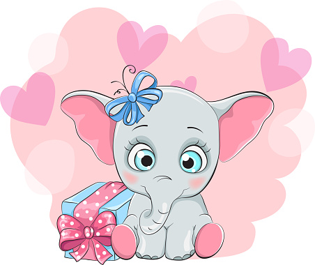 Greeting card with a happy elephant with gift box