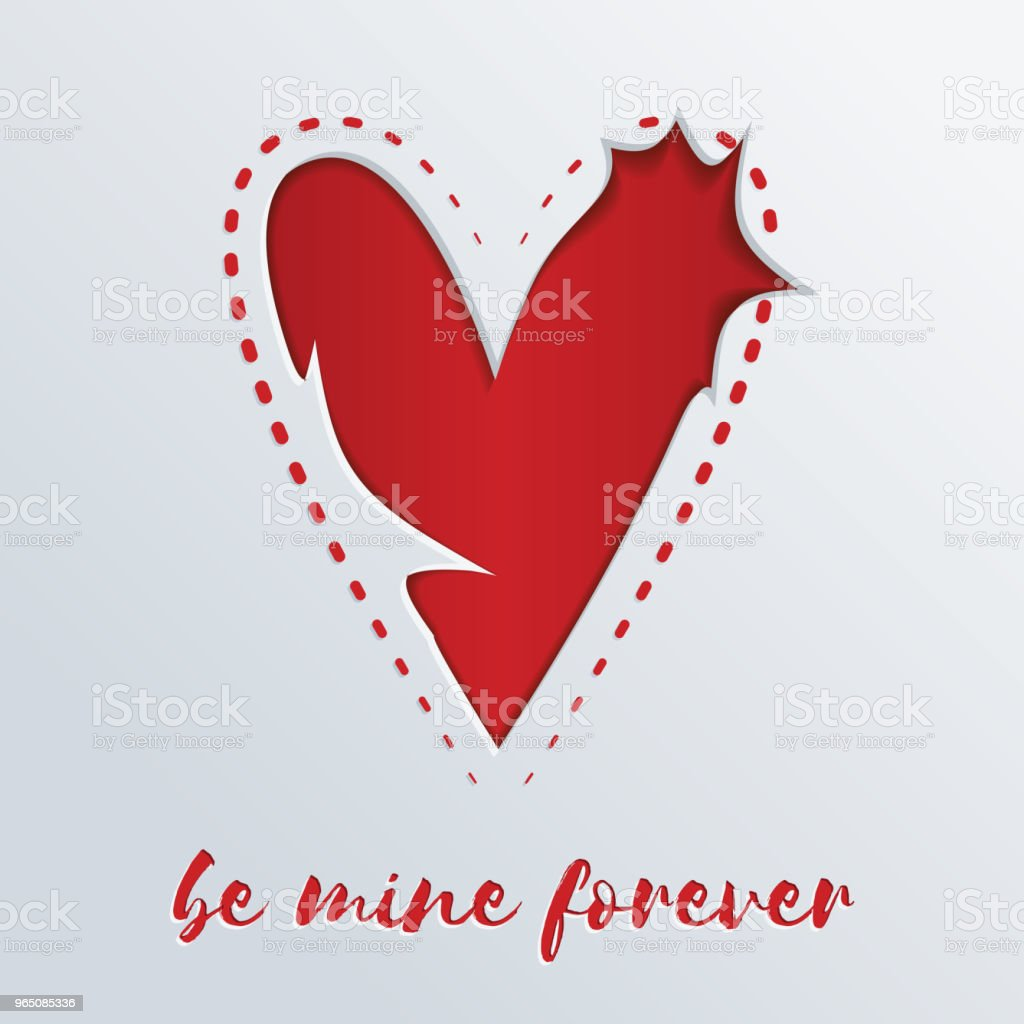 Greeting card with a red heart cut out in paper. Be mine forever royalty-free greeting card with a red heart cut out in paper be mine forever stock vector art & more images of abstract