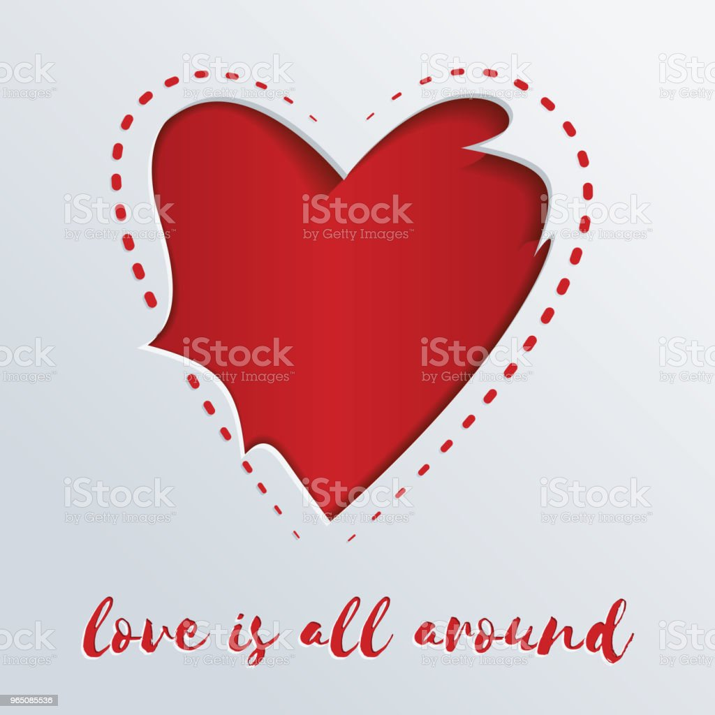 Greeting card with a red heart cut out in paper. Love is all around greeting card with a red heart cut out in paper love is all around - stockowe grafiki wektorowe i więcej obrazów abstrakcja royalty-free
