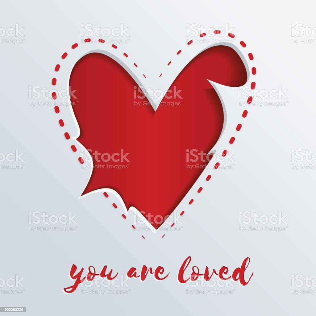 Greeting card with a red heart cut out in paper. You are loved royalty-free greeting card with a red heart cut out in paper you are loved stock vector art & more images of abstract