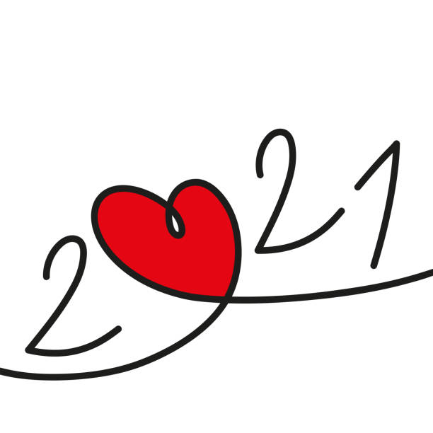 2021 greeting card with a red heart on a white background to symbolize love. vector art illustration