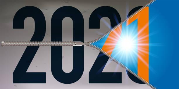 illustrations, cliparts, dessins animés et icônes de carte de vœux présentant une fermeture éclaire s'ouvrant sur l'année 2021. - covid france