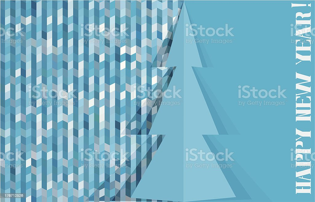 Greeting card with abstract pine and mosaic background royalty-free stock vector art