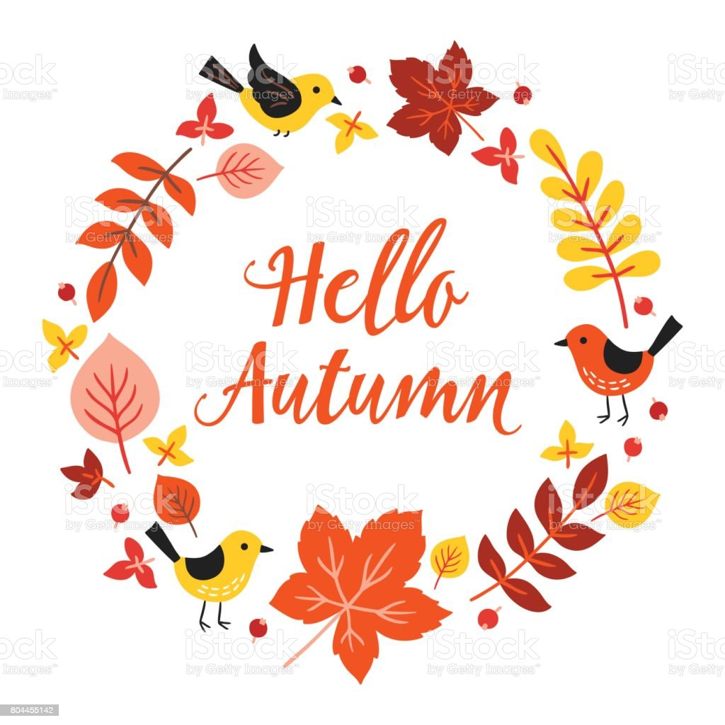 Greeting Card With Autumn Wreath Birds Maple Leaves Stock Vector Art