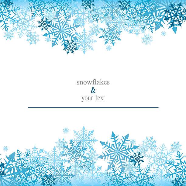 Tarjeta de felicitación con snowflakes azul - ilustración de arte vectorial