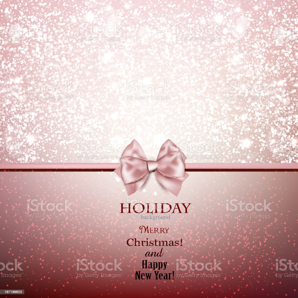 Greeting card with bow and copy space. royalty-free stock vector art