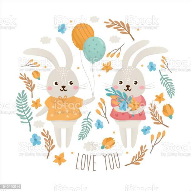 Greeting card with bunnies vector id940440914?b=1&k=6&m=940440914&s=612x612&h=slhxfyrns zqz3jc5gqxvytziejyyeu3cuurlubsqnk=
