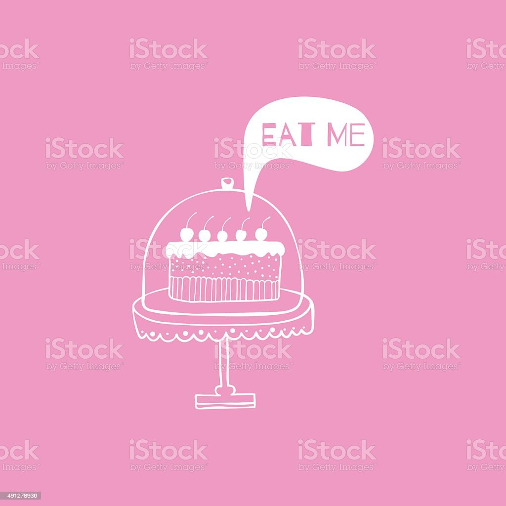 Greeting card with cake. vector art illustration