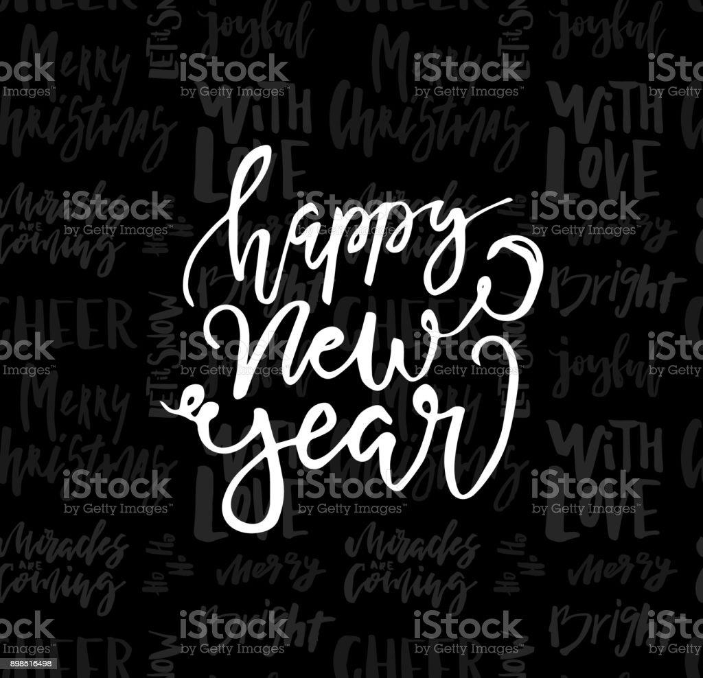 Glückwunschkarte Mit Kalligrafie Frohes Neues Jahr Vorlage