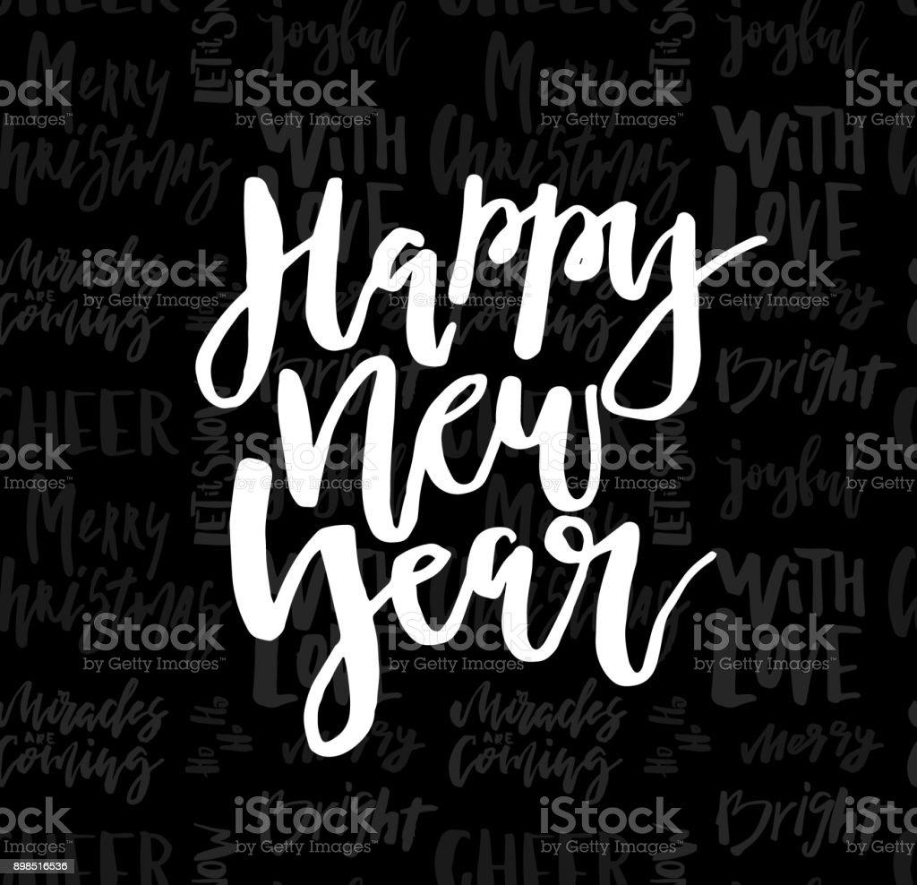 Glückwunschkarte Mit Kalligrafie Frohes Neues Jahr Vorlage Für ...