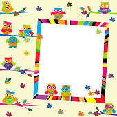 Greeting card with cartoon owls and frame
