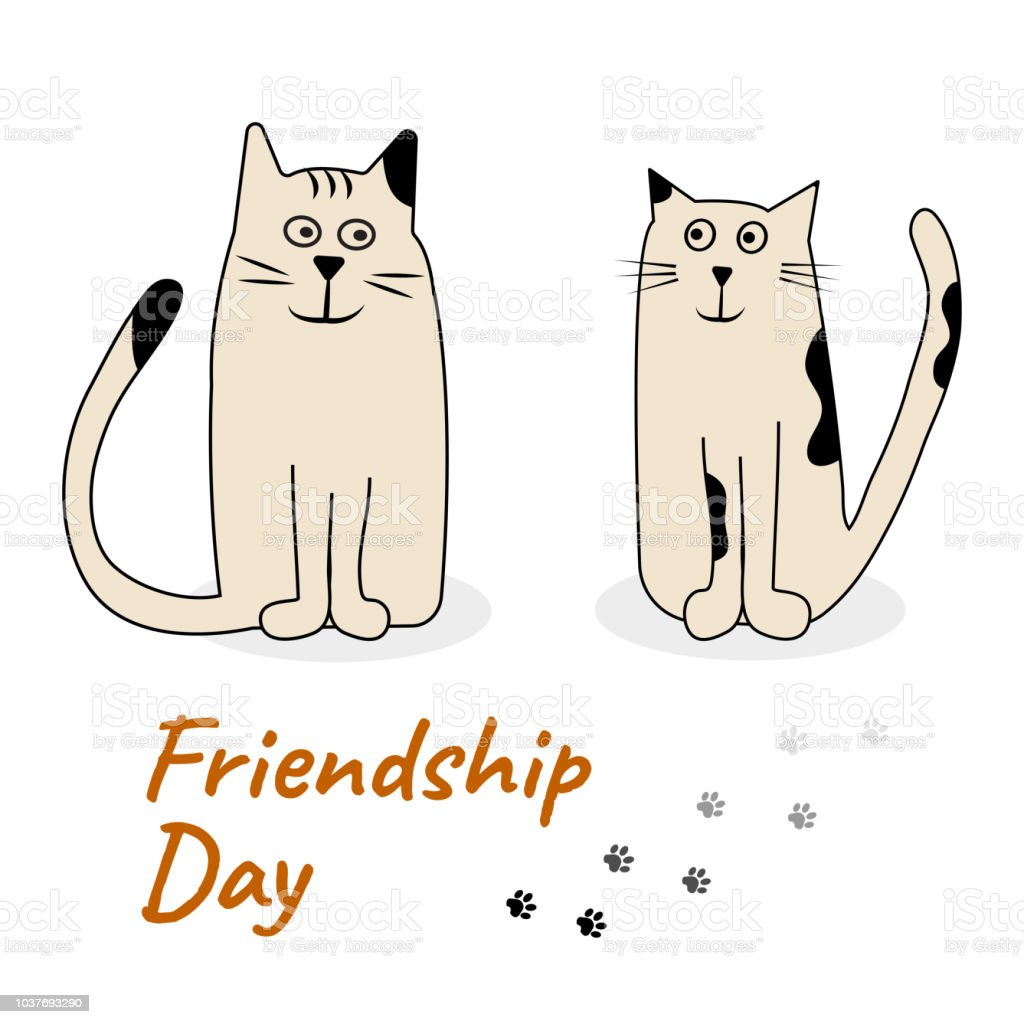 Greeting Card With Cats For International Day Of Friendship Stock Illustration Download Image Now Istock