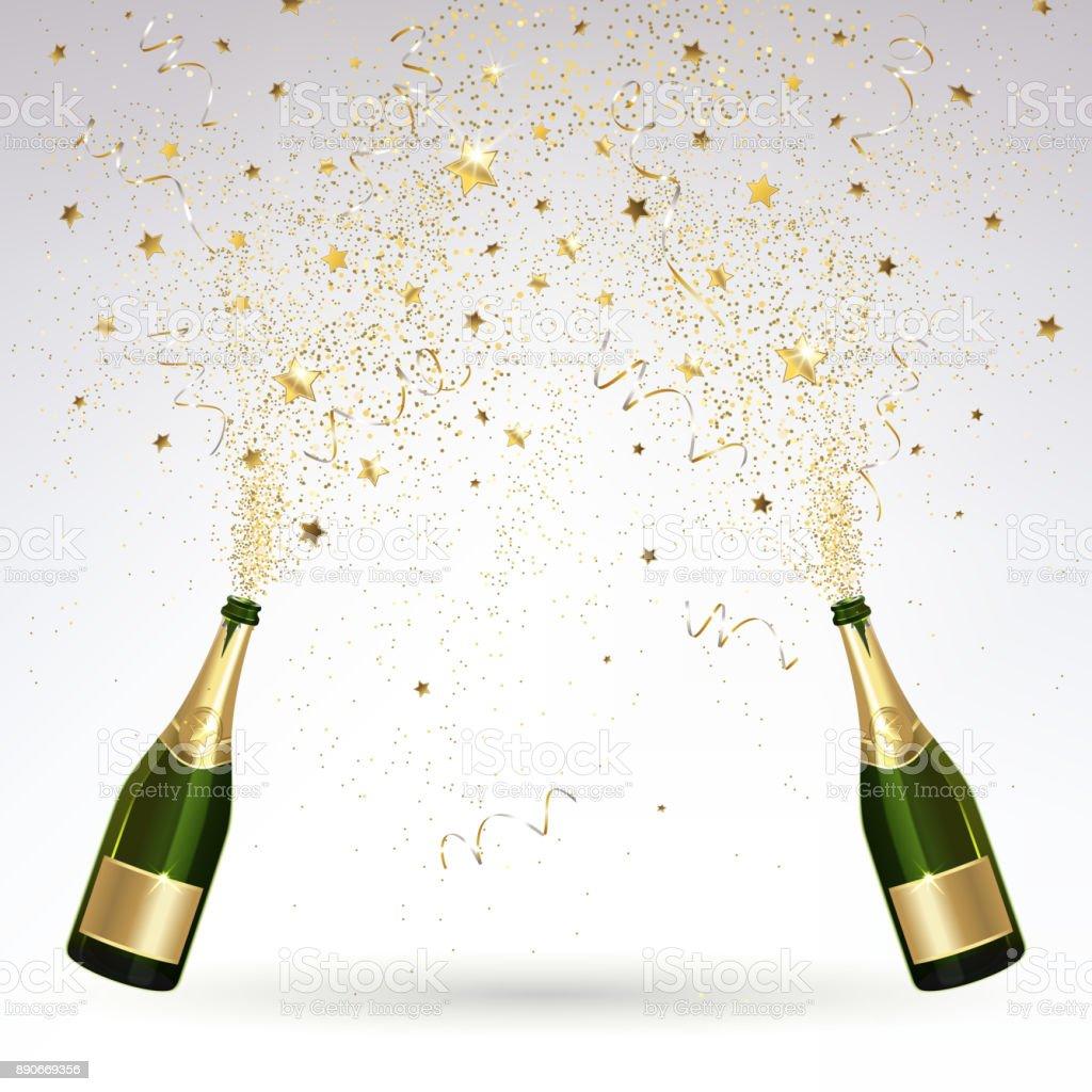 Grußkarte mit Champagner und Gold Konfetti Salute - Lizenzfrei Alkoholisches Getränk Vektorgrafik
