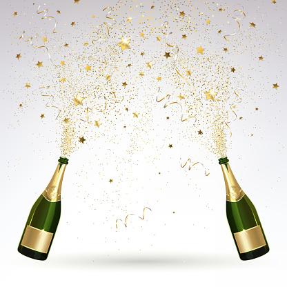 Grußkarte Mit Champagner Und Gold Konfetti Salute Stock Vektor Art und mehr Bilder von Alkoholisches Getränk