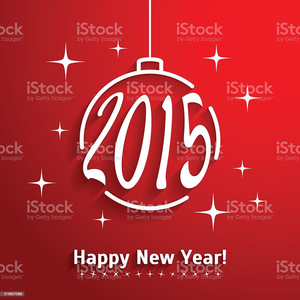 Greeting Card With Christmas Ball 2015 Happy New Year Stock Vector