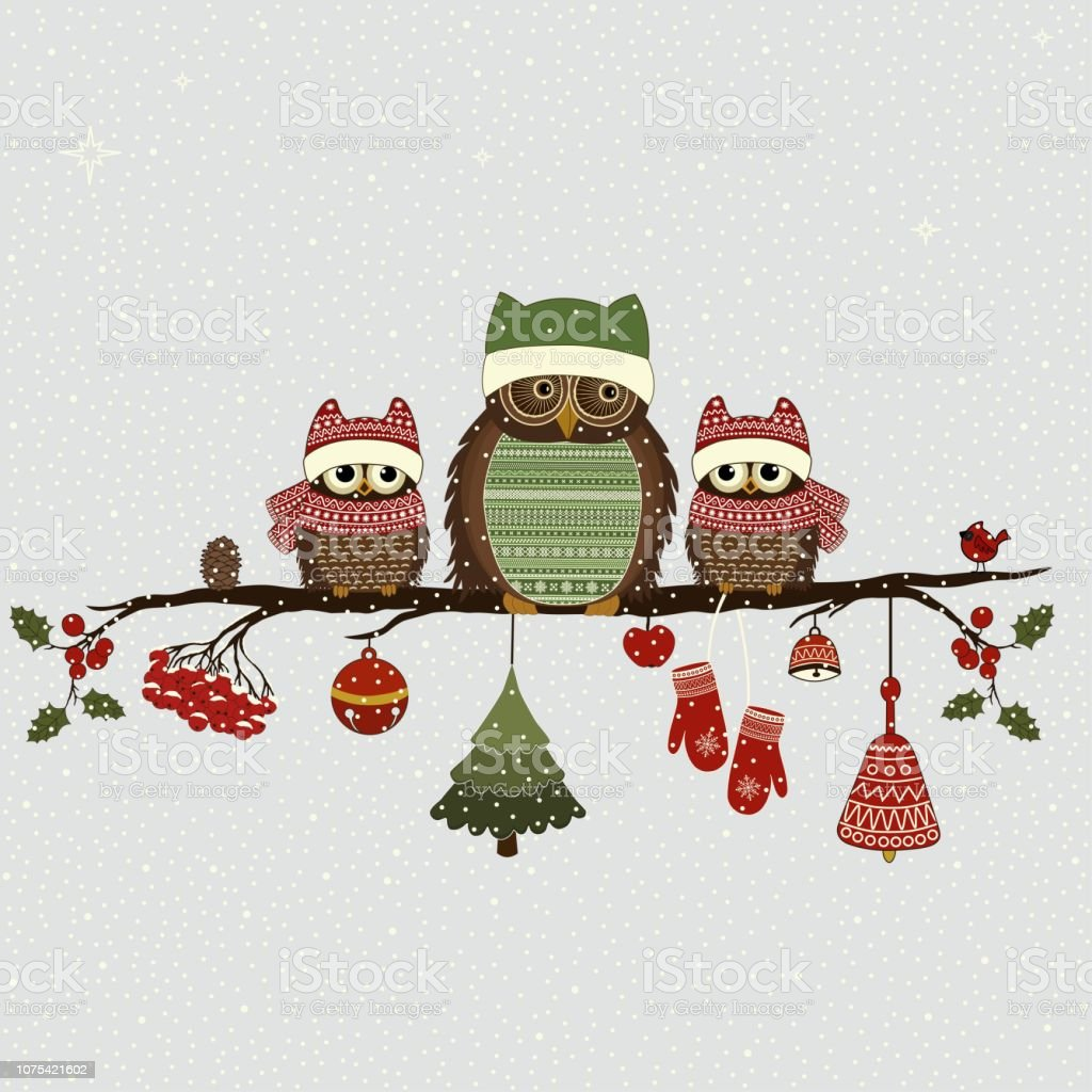 Greeting card with Christmas owls on branch and Christmas elements vector art illustration