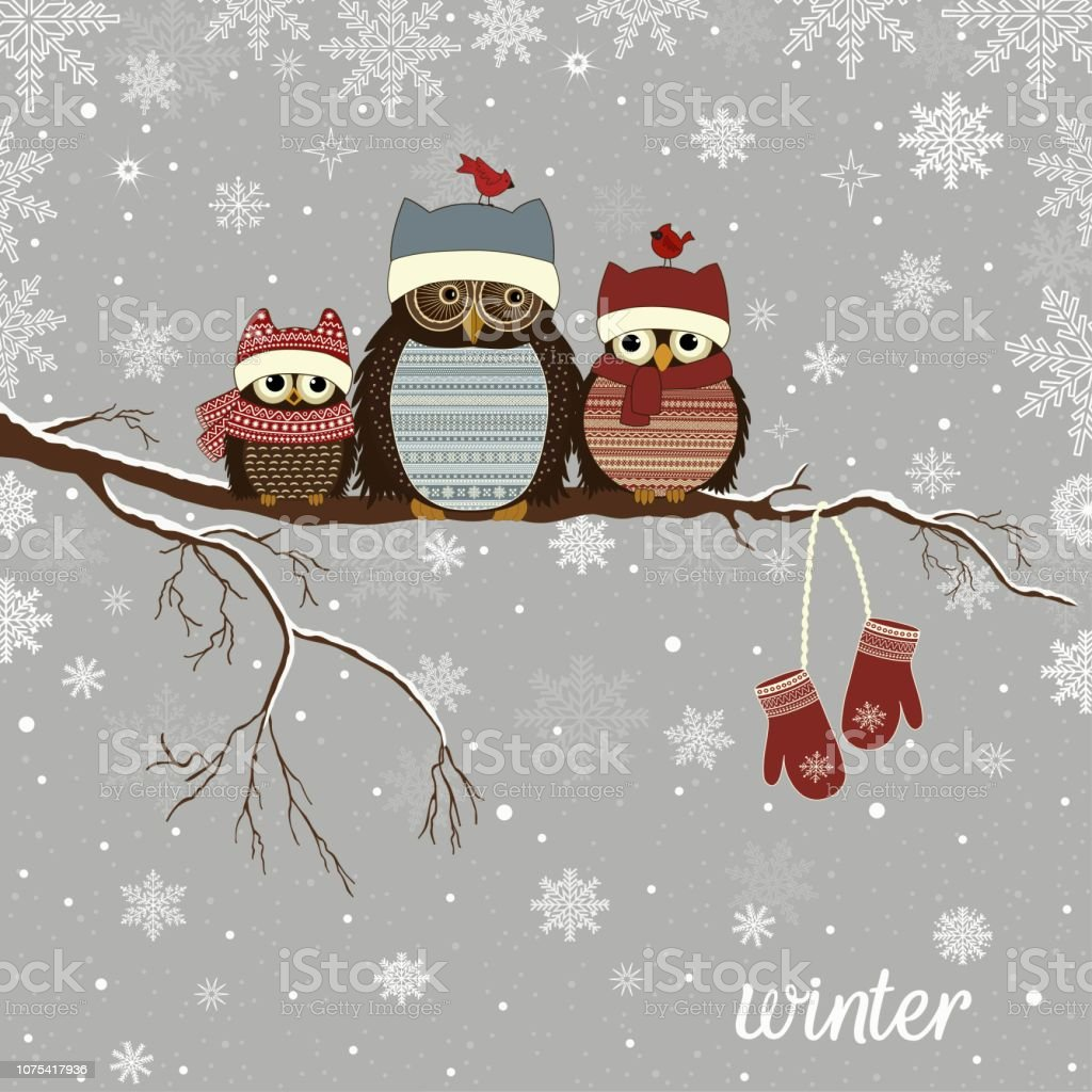 Greeting card with Christmas owls on branch in winter vector art illustration