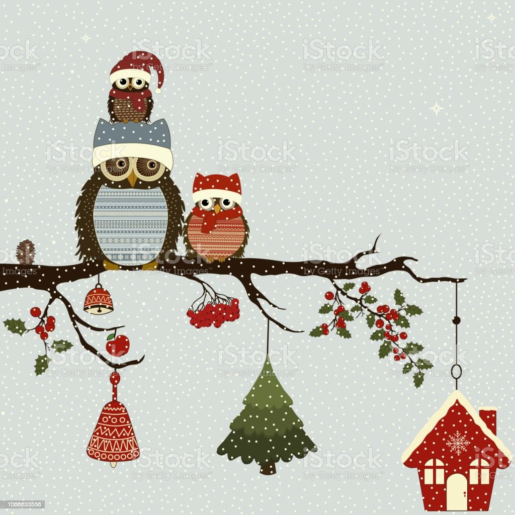 Greeting card with Christmas owls on branch vector art illustration