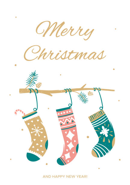 Greeting card with Christmas socks Vector illustration in cartoon style christmas stocking stock illustrations