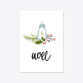 Greeting Card with christmas toys. NOEL lettering. Template for New 2018 Year Cards and Merry Christmas posters