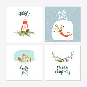 Greeting Card with christmas toys. Christmas phrases and quotes lettering. Template for New 2018 Year Cards and Merry Christmas posters