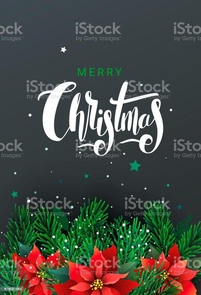 Weihnachtsstern Für Tannenbaum.Grusskarte Mit Tannenbaum Und Weihnachtsstern Stock Vektor Art Und