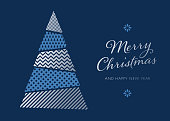 Greeting card with Christmas Tree Background - Illustration