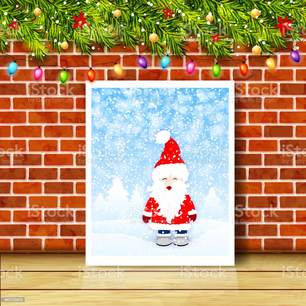 Greeting Card With Christmas Tree Branches Garlands And Brick Wall