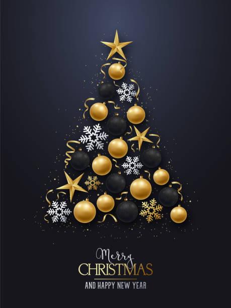 bildbanksillustrationer, clip art samt tecknat material och ikoner med gratulationskort med julgran. glänsande julgran dekorationer, bollar, stjärnor och snöflingor på en mörk bakgrund. god jul och gott nytt år. vektorillustration. - christmas decoration golden star