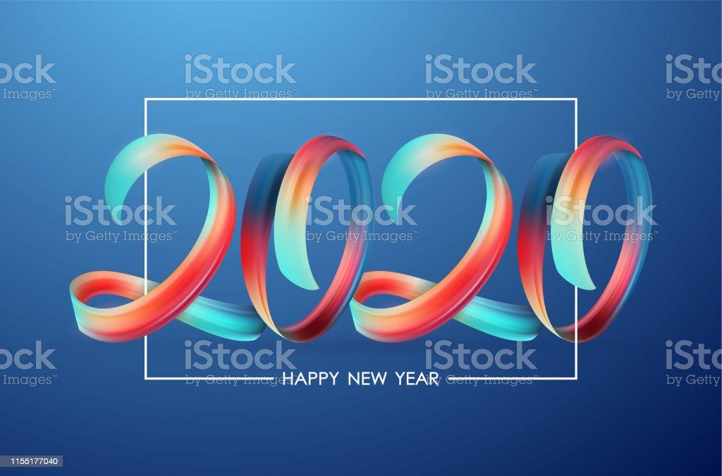 2020 Mutlu Yeni Yil Renkli Brushstroke Boya Yazi Kaligrafi Ile